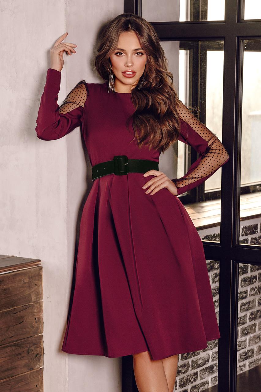 Женское платье с бархатным поясом Марсала