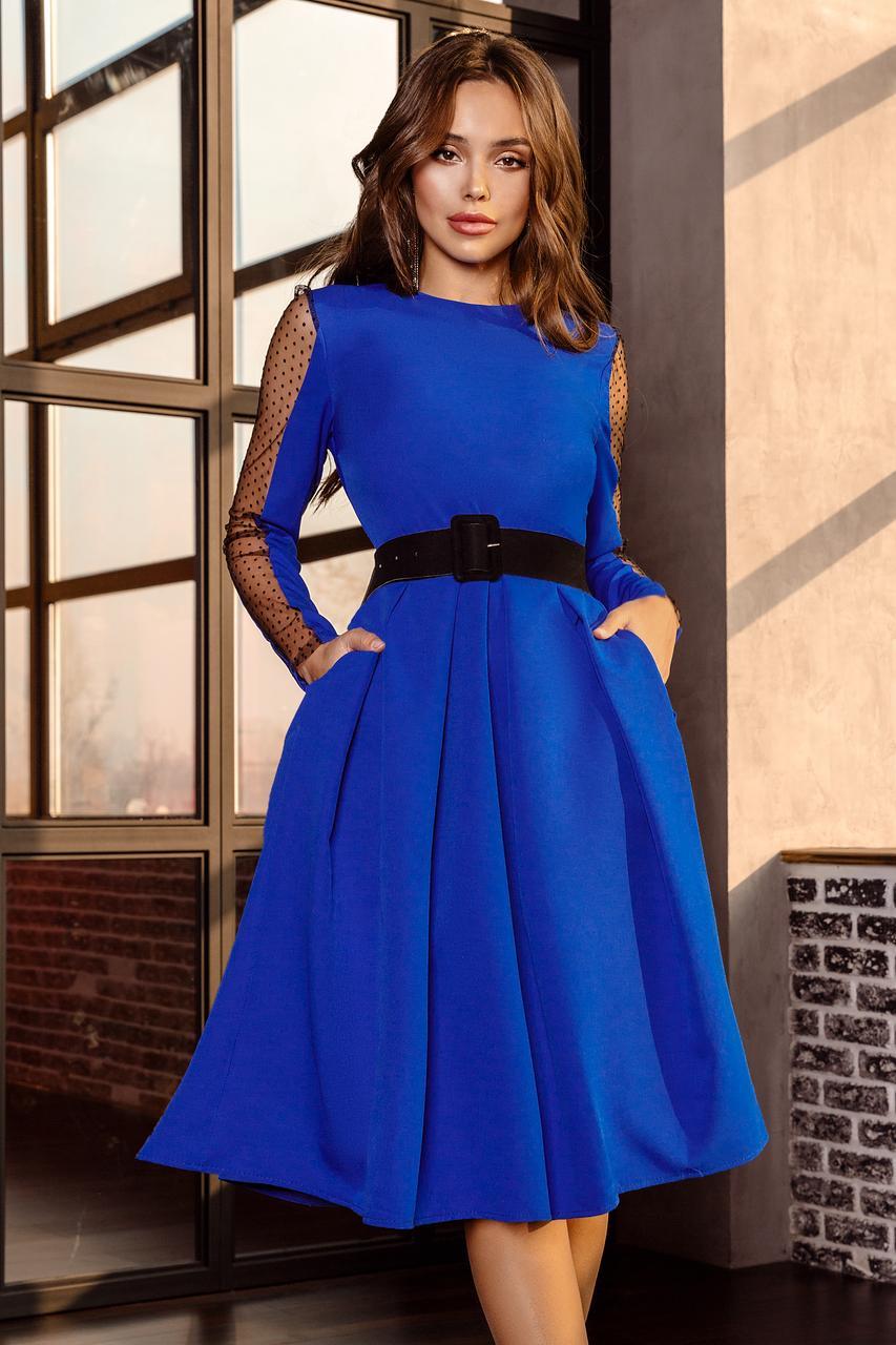 Женское платье с бархатным поясом Электрик