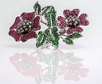Серебряное стильное кольцо Цветы с кубическим цирконием