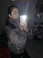 Женская блестящая куртка-хамелеон ЗИМА оверсайз 42-46 и 46-48   с голографическим напылением ФОТО РЕАЛ!!!  кур