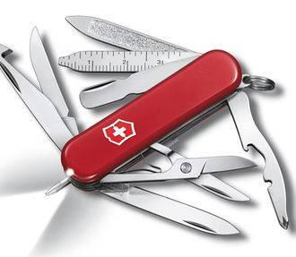 Надежный cкладной армейский нож Victorinox Midnite Minichamp 06386 красный