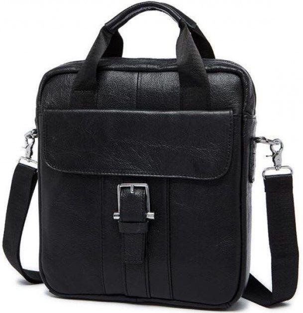 Мессенджер мужской Vintage 14632 кожаный Черный