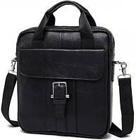 Мессенджер мужской Vintage 14632 кожаный Черный, фото 1