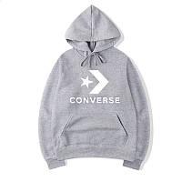 Худи Converse One Star Logo серое, унисекс (мужское, женское, детское)