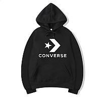 Худи Converse One Star Logo черное, унисекс (мужское, женское, детское)