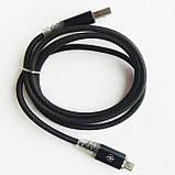 Кабель USB-micro USB светящийся, силиконовый, чешуя, черный, фото 4