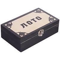 Русское лото настольная игра с деревянными бочонками в коробке для взрослых и детей Zelart Черный (W9902)