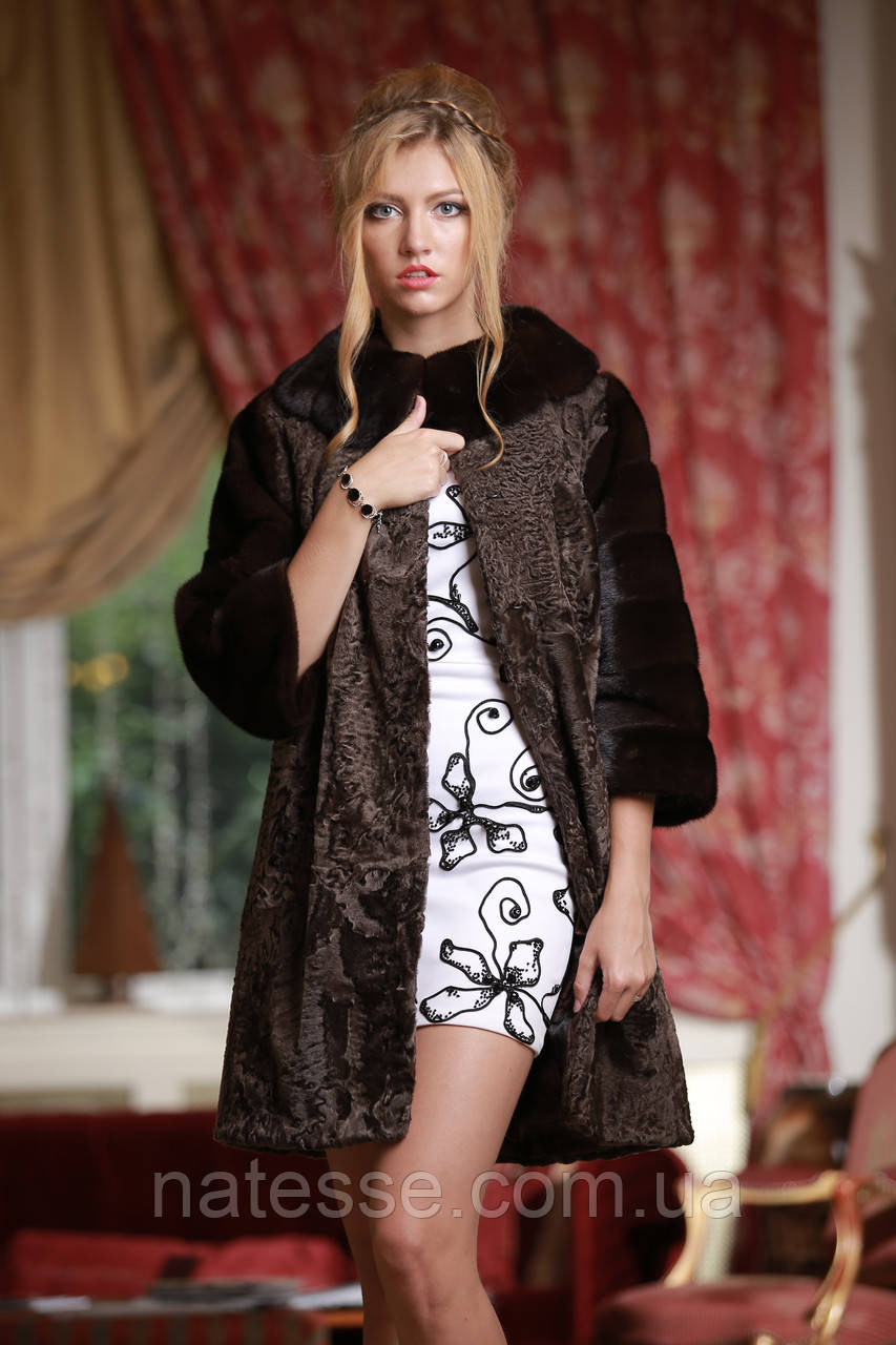 Шуба из каракульчи и норки NAFA swakara broadtail jacket coat furcoat