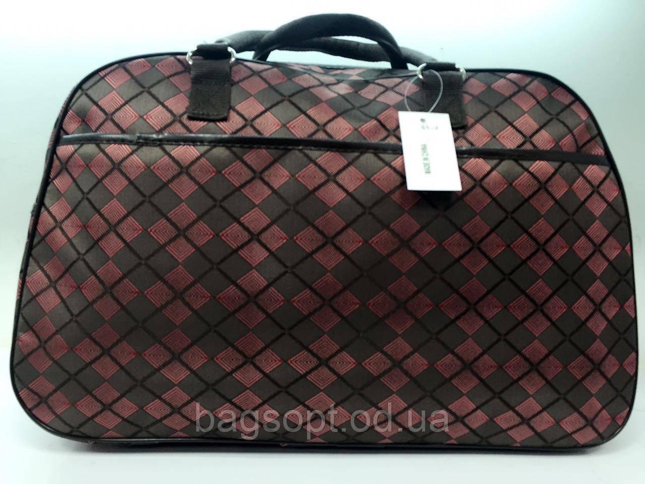Дорожная женская текстильная сумка-саквояж в клетку вместительная