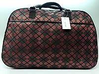 Жіноча дорожня текстильна сумка-саквояж в клітку містка