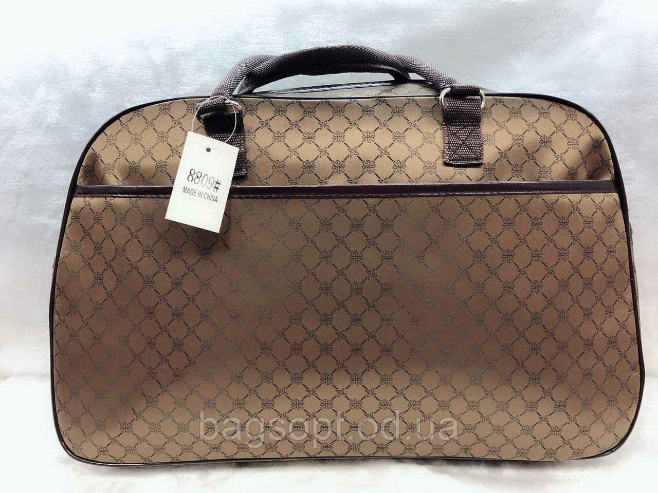 Женская дорожная коричневая сумка-саквояж текстильная для путешествий