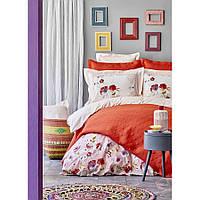 Набор постельное белье с покрывалом Karaca Home - Elia pembe 2020-1 розовый евро