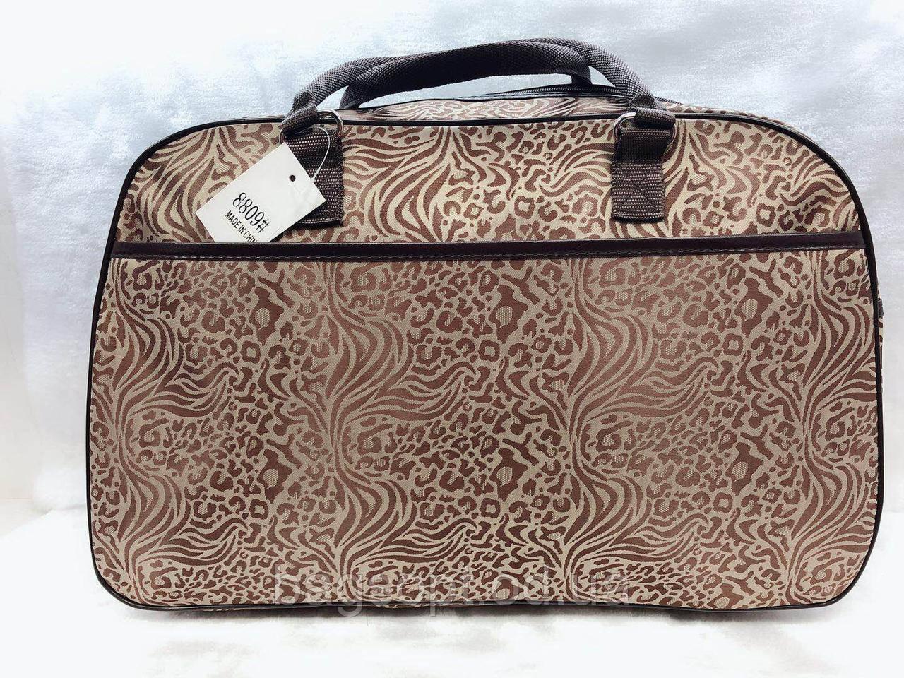 Вместительная дорожная женская сумка-саквояж текстильная для поездок
