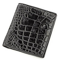 Портмоне CROCODILE LEATHER 18530 из натуральной кожи крокодила Черное, Черный