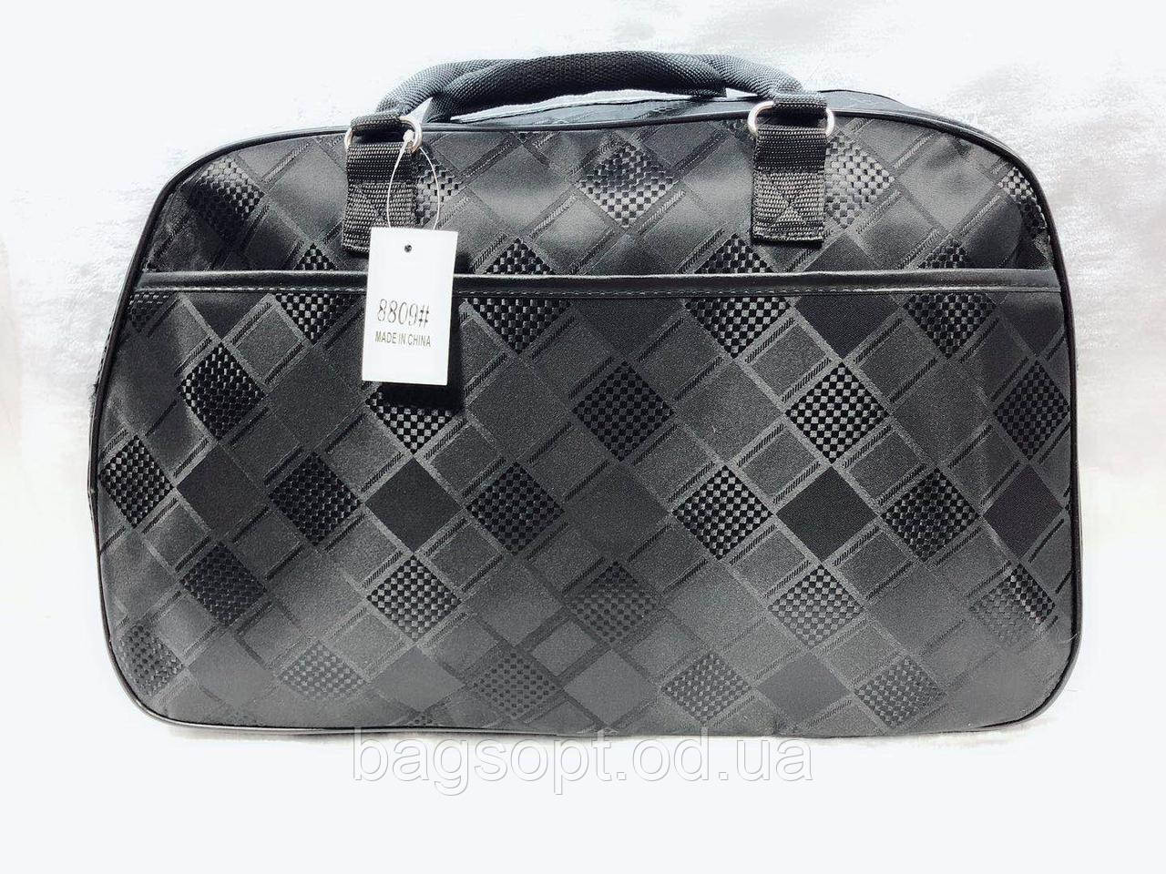 Дорожная черная сумка-саквояж женская в клетку удобная легкая