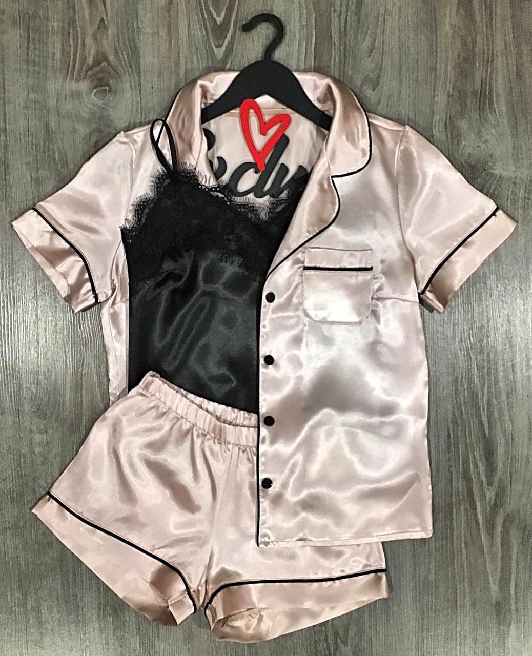 Рубашка и шорты с атласным кантом + майка с кружевом. Стильный домашний набор одежды.