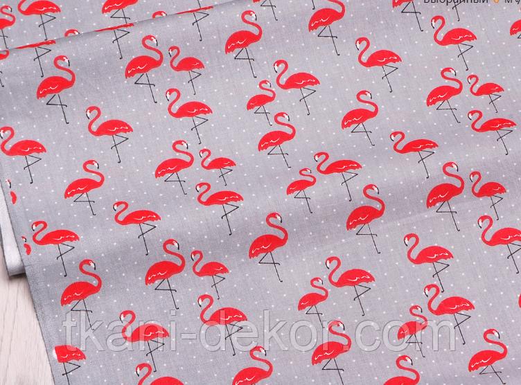 Сатин (хлопковая ткань) на сером фоне фламинго (75*160)