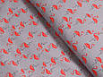 Сатин (хлопковая ткань) на сером фоне фламинго (75*160), фото 2