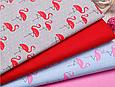Сатин (хлопковая ткань) на сером фоне фламинго (75*160), фото 3