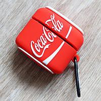 Силиконовый чехол для Apple AirPods Pro (чехол+карабин) (Coca-cola)