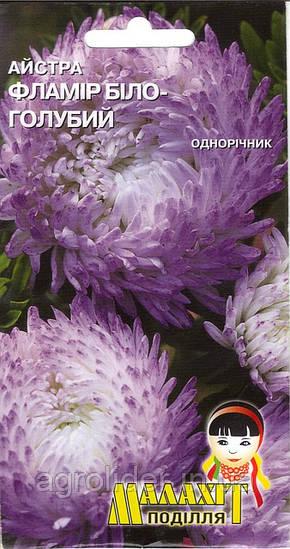 Семена цветов Астра Фламир бело-голубой 0.5г (Малахiт Подiлля)