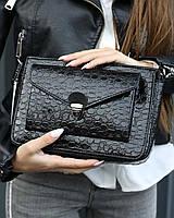Маленькая сумка T6202 клатч черная через плечо кросс-боди лаковая, фото 1