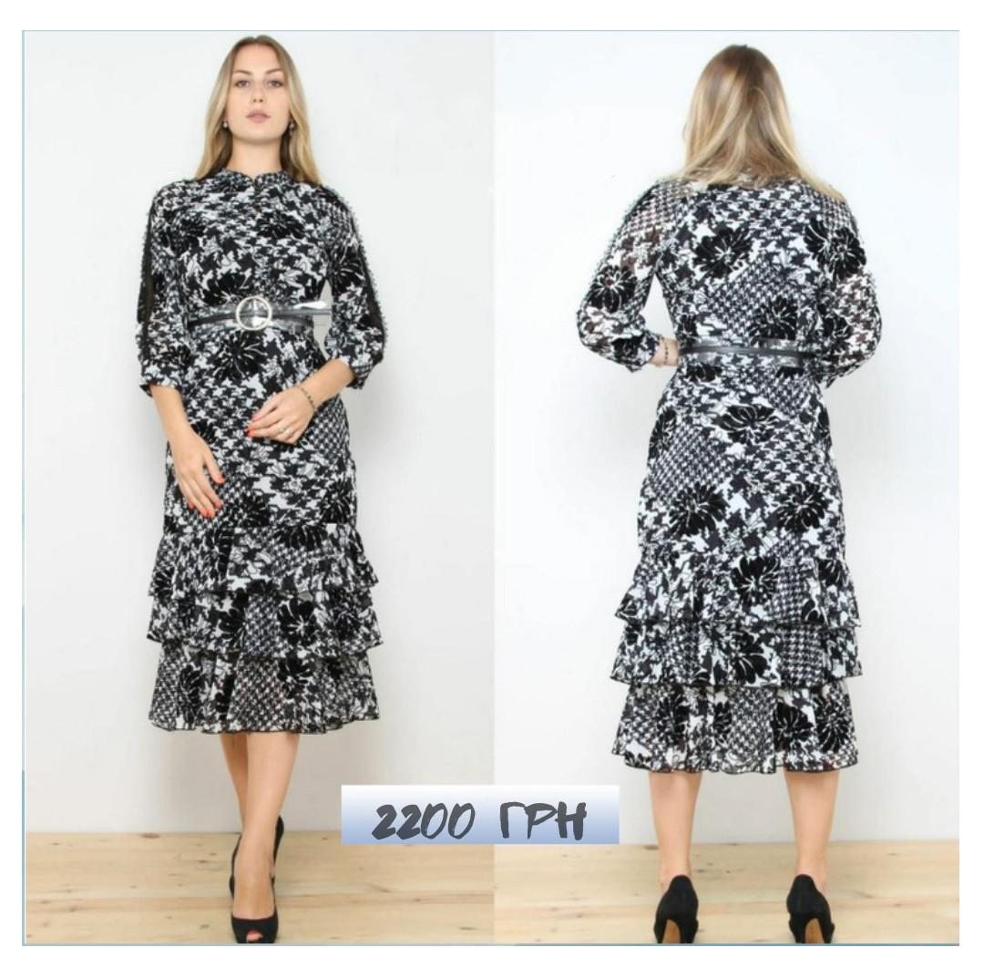 Сукня в чорно-білий притн з воланами 28311