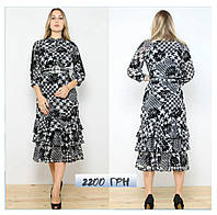 Сукня в чорно-білий притн з воланами 28311, фото 1