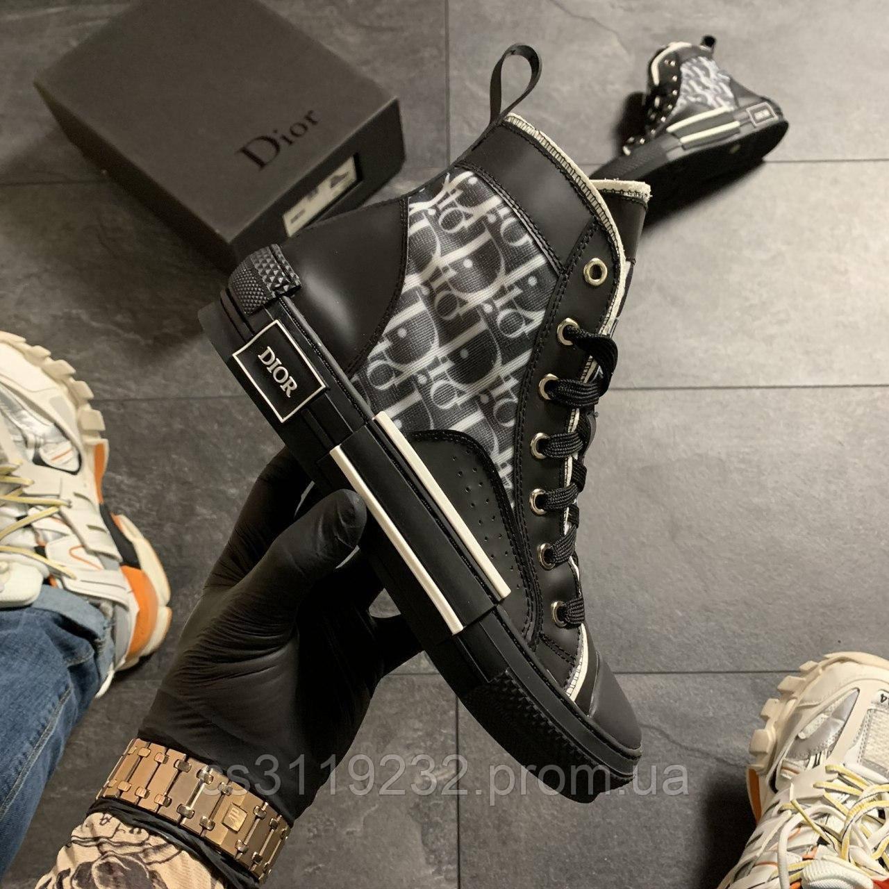 Женские кроссовки Dior B23 High-Top Sneakers Black (черный)