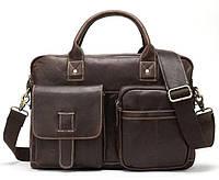 Сумка - портфель мужская Crazy horse Vintage 14667 Коричневая, Коричневый, фото 1