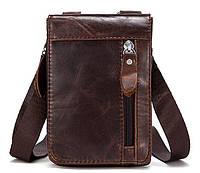 Сумка-клатч на ремень мужская Vintage 14690 Коричневая, Коричневый, фото 1