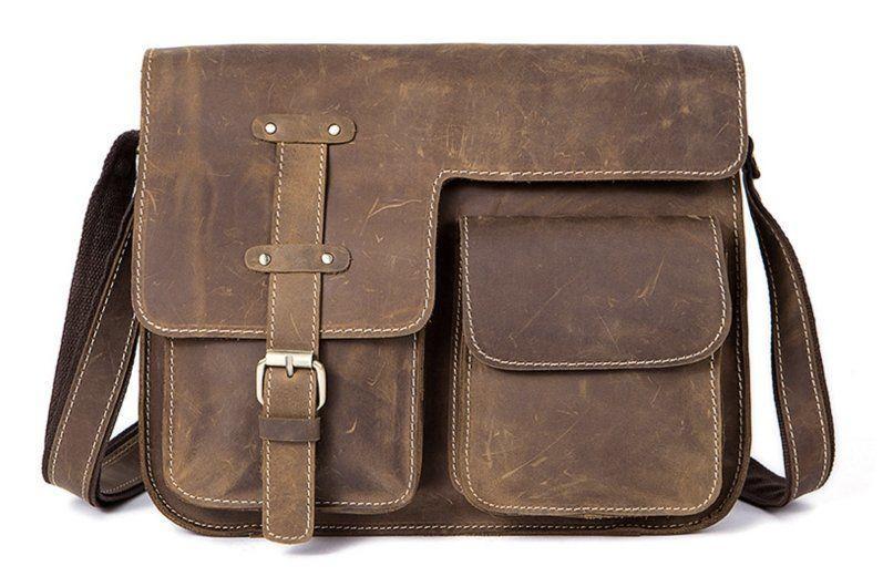 Cумка мужская с эффектом старины Vintage 14697 Коричневая, Коричневый