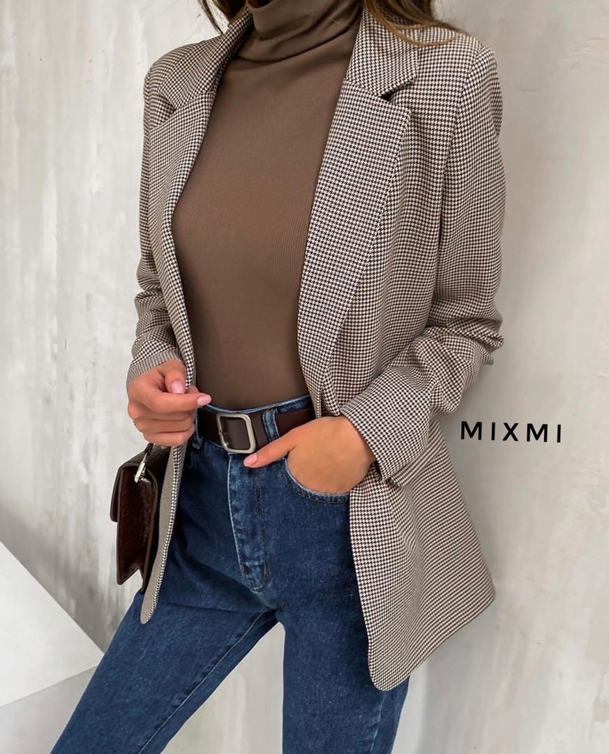 Пиджак женский, повседневный,  в клетку, офисный, удлиненный, стильный, модный, стильный
