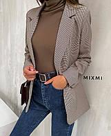 Пиджак женский, повседневный,  в клетку, офисный, удлиненный, стильный, модный, стильный, фото 1