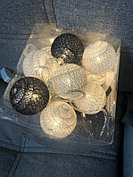 Тайская LED-гирлянда  (15  шариков) Платина Серебро Подарок День Святого Валентина Декор