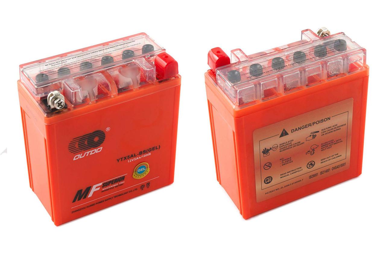 Аккумулятор 5A 12V (YTX5AL-BS) OUTDO гелевий - високий 119x60x128