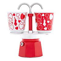Подарочный набор Bialetti Set: гейзерная кофеварка Mini Express (2 cup) + 2 кофейных стаканчика
