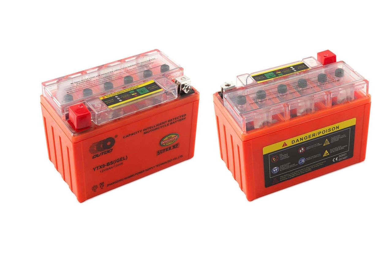 Аккумулятор 9A 12V (YTX9-BS) OUTDO гелевий з індикаторм 152x88x106