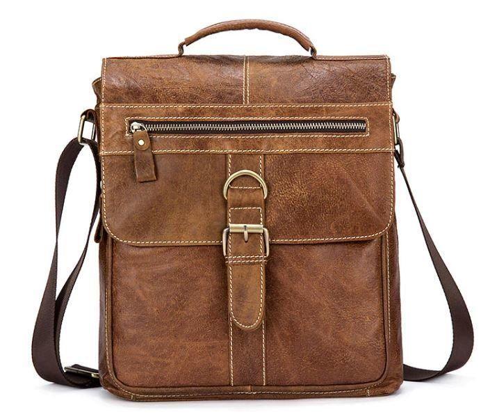 Сумка с потертостями Vintage 14754 Cветло-коричневая, Коричневый