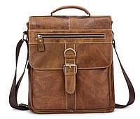 Сумка с потертостями Vintage 14754 Cветло-коричневая, Коричневый, фото 1
