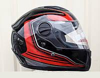 Шлем Интегра глянцевый чёрно красный размер M