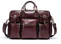 Дорожная сумка-портфель Vintage 14776 Бордовая, Бордовый, фото 1