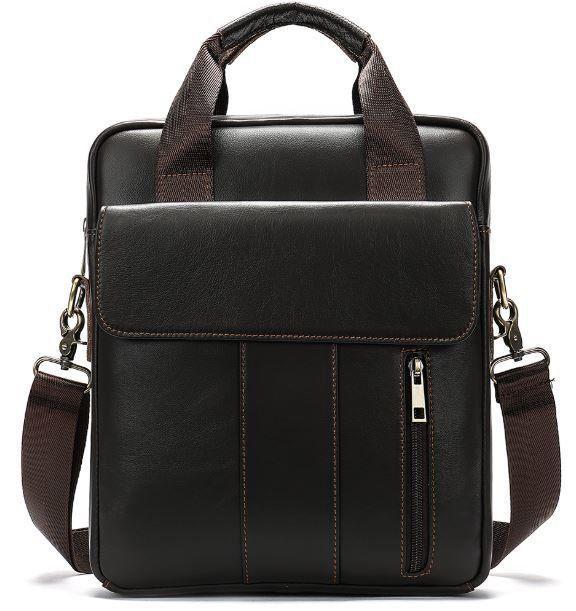 Вертикальная сумка мужская Vintage 14788 Коричневая, Коричневый