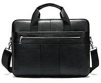 Сумка деловая мужская кожаная Vintage 14794 Черная, Черный, фото 1