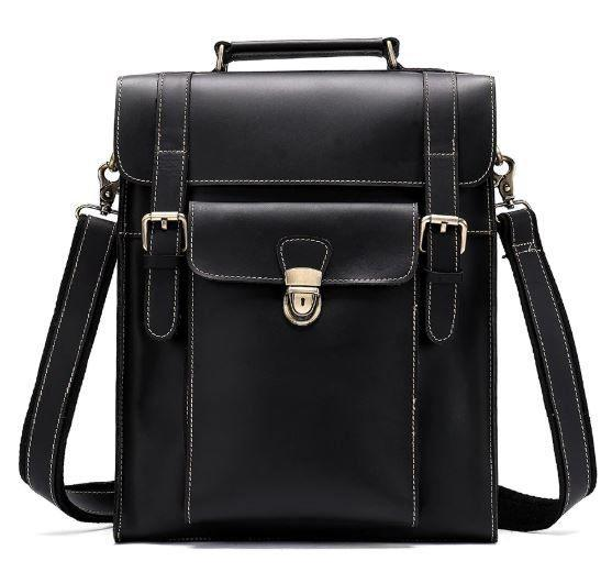 Деловая сумка-трансформер мужская Vintage 14797 Черная в гладкой коже, Черный