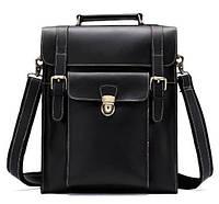Деловая сумка-трансформер мужская Vintage 14797 Черная в гладкой коже, Черный, фото 1