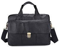 Портфель мужской кожаный с замком Vintage 14801 Черная, Черный, фото 1