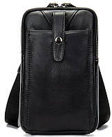 Компактная сумки из натуральной кожи Vintage 14811 Черная, Черный, фото 1