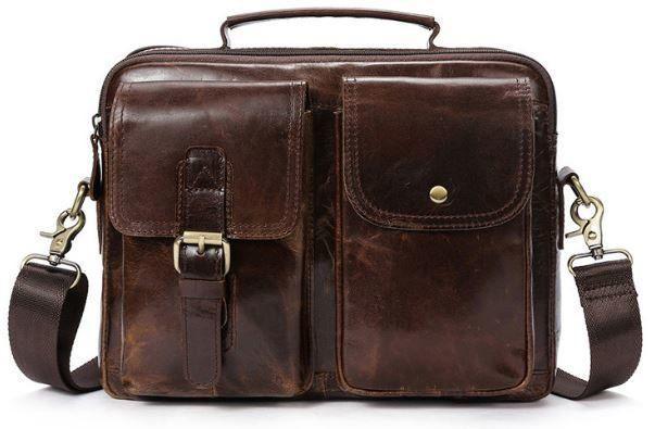 Деловая сумка на плечо кожаная Vintage 14820 Коричневая