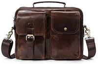 Деловая сумка на плечо кожаная Vintage 14820 Коричневая, фото 1